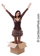 femme, boîte