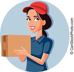 femme, boîte, paquet, ouvrier, livraison, tenue, carton