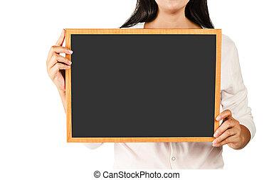 femme, bois, noir, tenue, vide, board.