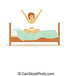 femme, bon, caractère, haut, illustration, réveiller, vecteur, sourire, début, jour