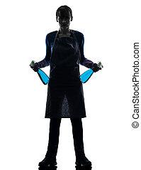 femme, bonne, ménage, nettoyage fenêtre, pulvérisateur, silhouette