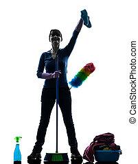 femme, bonne, ménage, nettoyage, produits, silhouette
