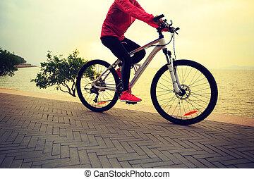 femme, bord mer, jeune, une, équitation vélo
