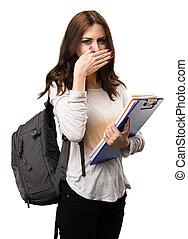 femme, bouche, étudiant, elle, couverture
