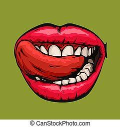 femme, bouche, langue, ouvert