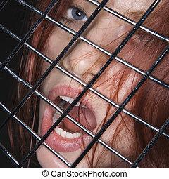 femme, bouche, open.
