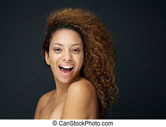 femme, bouclé, beauté, cheveux, séduisant, portrait, rire