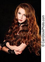 femme, bouclé, long, mode, cheveux, portrait, rouges