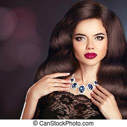 femme, bouclé, longs cheveux, lèvres, brunette, rouges