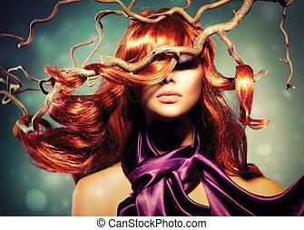 femme, bouclé, longs cheveux, mode, portrait, modèle, rouges