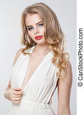femme, bouclé, maquillage, longs cheveux, élégant, lèvres, portrait, blond, rouges
