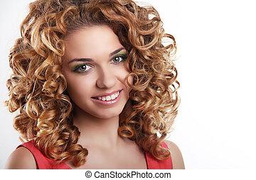 femme, bouclé, sain, séduisant, fond, hair., portrait, sourire, blanc