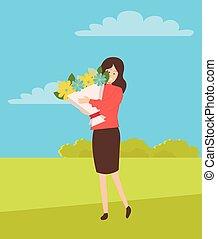 femme, bouquet, grand, vecteur, tenue, girl, vacances