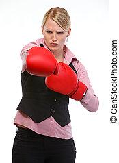 femme, boxe, colère, gants, employé, frapper