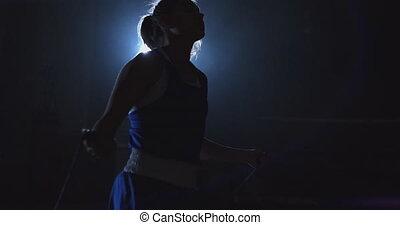 femme, boxe, corde, sauter, boxeur, sauter, anneau, salle