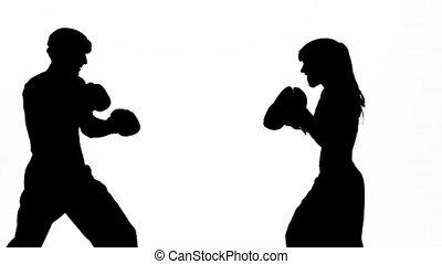 femme, boxe, silhouette., mouvement, arrière-plan., lent, gants, type, anneau, battement, blanc