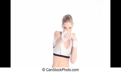 femme, boxeur, poings, élevé
