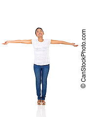 femme, bras tendus, africaine