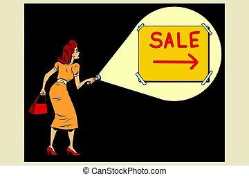 femme, briller, a, lampe électrique, à, les, inscription,...