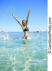 femme, bronzé, mer, blonds, bikini