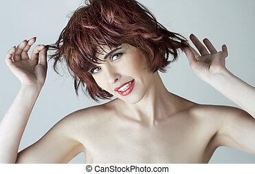 femme, brun, portrait, court, cheveux