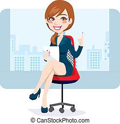 femme, brunette, bureau