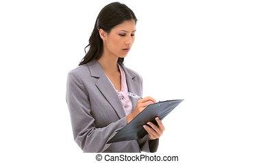 femme, brunette, presse-papiers, écriture