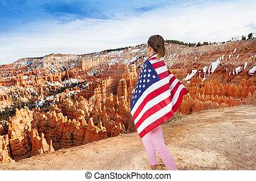 femme, bryce, usa, drapeau national, parc, canyon
