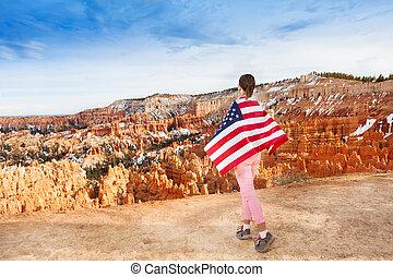 femme, bryce, usures, usa, drapeau national, parc, canyon