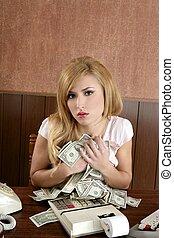 femme, bureau, argent, comptable, retro, vendange, avidité