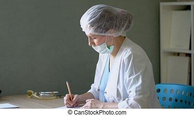 femme, bureau bureau, docteur, fonctionnement