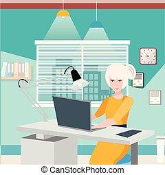 femme, bureau, business, desk., elle, fonctionnement