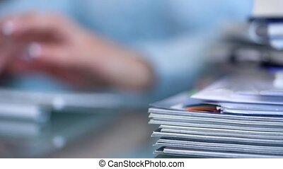 femme, bureau, clavier, ouvrier, impôts, dactylographie, ...