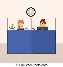 femme, bureau, couleur, box, jeune, personnes agées, lieu travail, fond, dame, employés