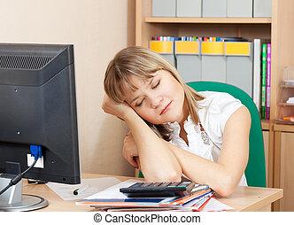 femme, bureau, dormir