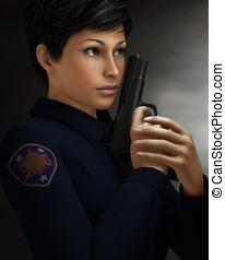 femme, bureau police, tenue, fusil