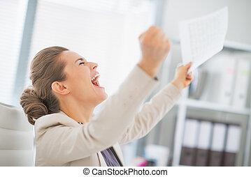 femme, bureau, reussite, réjouir, business, heureux