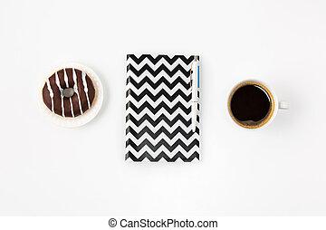 femme, bureau, sommet, cahier, espace de travail, blanc, vue