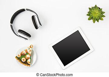 femme, bureau, sommet, espace de travail, blanc, ordinateur portable, vue