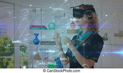 femme, bureau, virtuel, casque à écouteurs, porter, réalité
