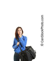 femme,  Business, voyage, sac, pensif, aller, Voyage