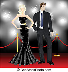 femme, célèbre, paparazzi, couple, élégant, mode, luxe, devant, homme, moquette rouge