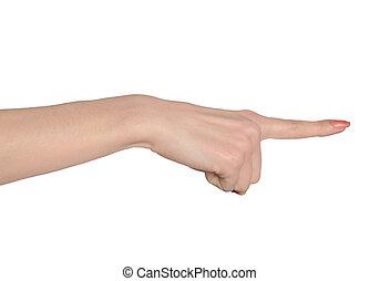 femme, côté, pointage, main