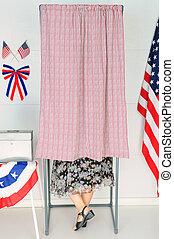 femme, cabine électeur, vote