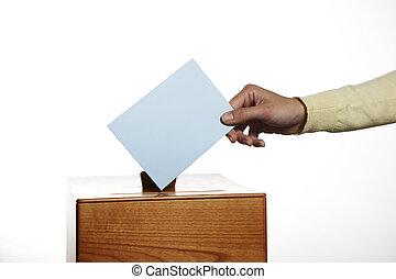 femme, cabine, vote
