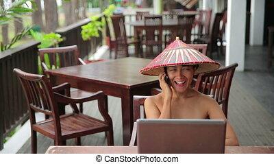 femme, café, asiatique