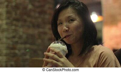 femme, café, jeune, asiatique