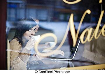 femme, café, jeune, magasin