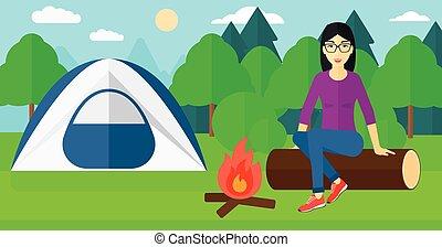 femme, camp., séance
