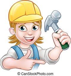 femme, caractère, charpentier, femme, dessin animé